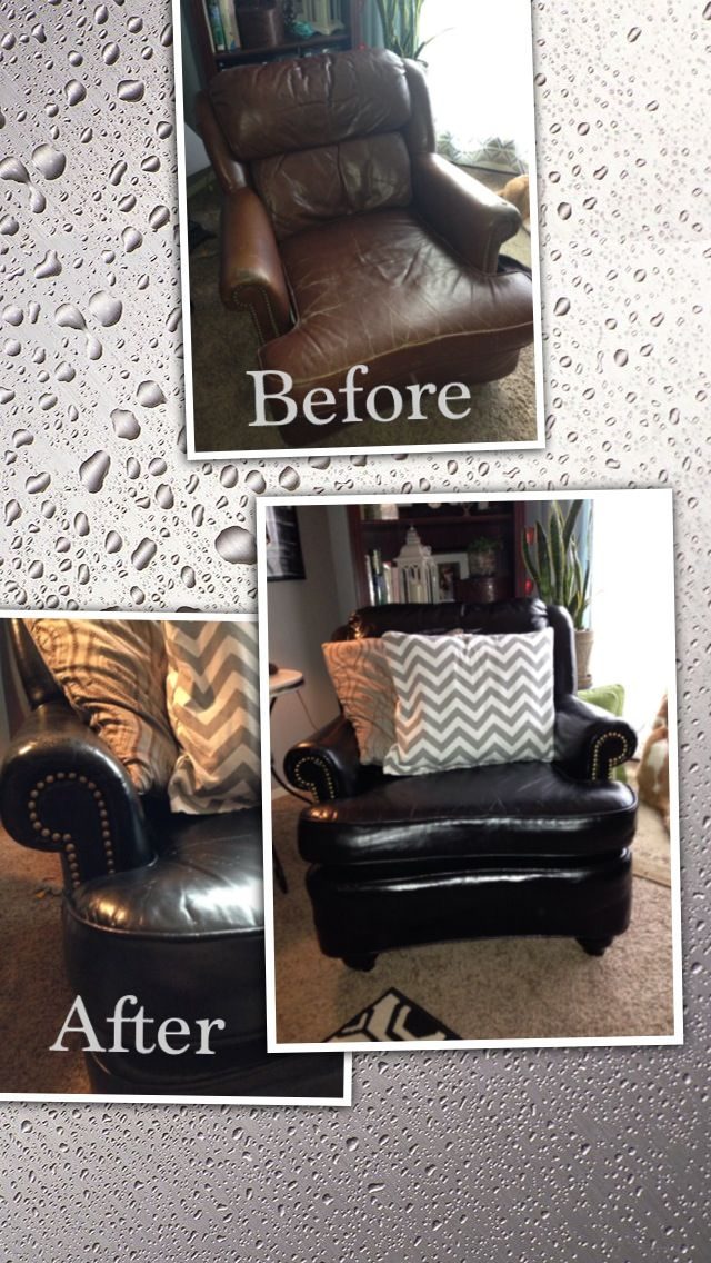 I've discovered the miracle that is VINYL SPRAY PAINT! At least two coats needed ( the first coat dries hazy). I used Rustoleum brand, found at any home improvement store, cost between $4 and $6 dollars a can. I used a total of five cans on this leather chair. Then I used a Sharpie oil  paint pen in metallic gold to go over the upholstery tack detail.