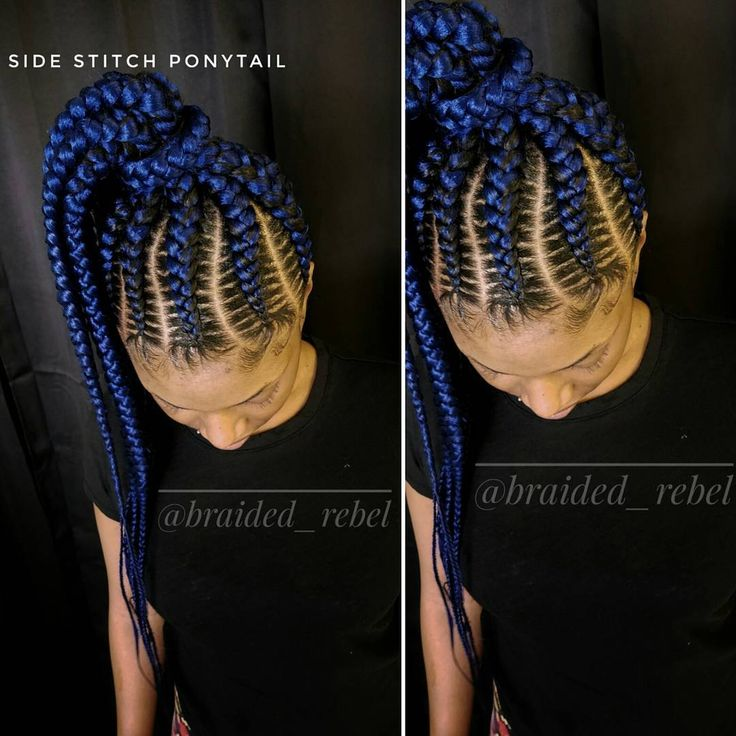 Blue Cornrows || @braided_rebel || @outre_hair Xpression Braid