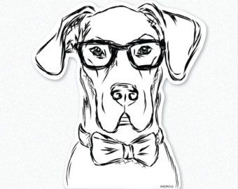 Not only is Harvey enormous in size being he is a Great Dane, but he has an enormous sense of style too! Who can resist those puppy dog eyes through the black framed glasses, or how handsome he looks in his bow tie?!  For the big dog lover you know, this super comfy tee will be a big stylish hit!  *This design was hand drawn and hand printed in-house on a super soft tee.  Available sizes: -Small -Medium -Large -XL -2XL  KEY FEATURES:  - hand printed in-house on a Premium Tri-blend T-shirt…
