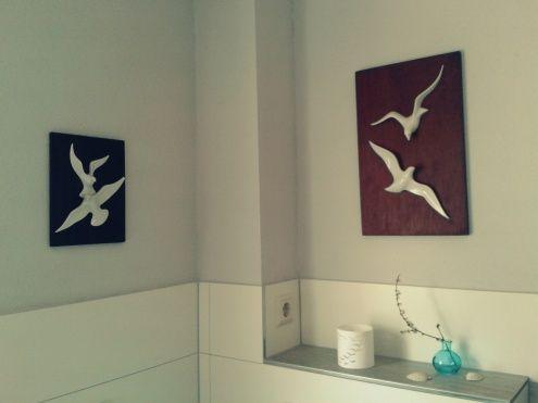Badezimmer , Tags 60er + Möwen + Sgrafo + Wandrelief
