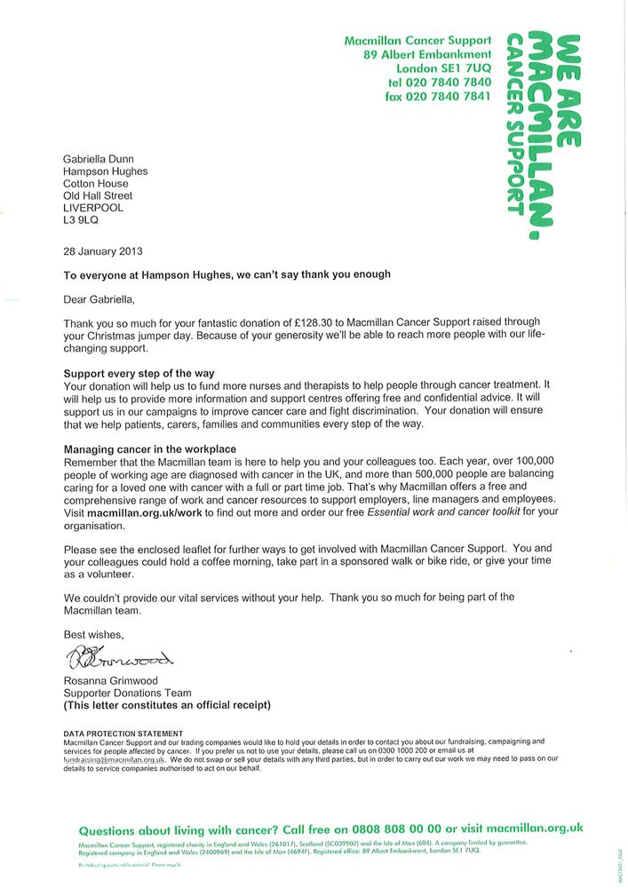 thankyou letter from macmillan cancer support editable charity - donation receipt letter