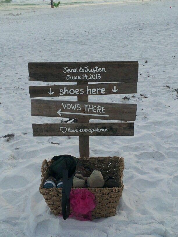 Cute beach wedding idea for shoes.