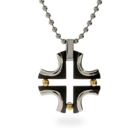Stainless Steel Cross with Black and Gold Length 18 inches (Lengths 18 inches 20 inches 24 inches 36 inches Available) Eve's Addiction. $29.00. Approximate Weight: 10 grams (pendant only). Metal Finish: stainless-steel