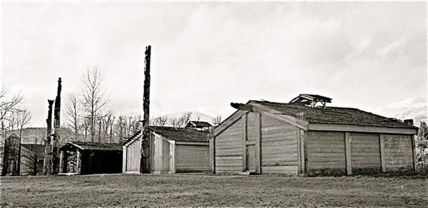 Houses and poles at 'Ksan Historical village.