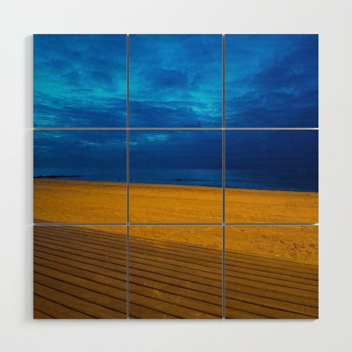A Night At The Beach Wood Wall Art By Vrijformaatphoto