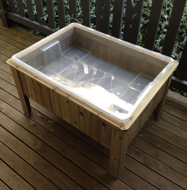 DIY sensory table. Aldi raised garden bed with IKEA tub.