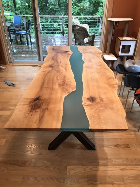 Live Edge River Table Epoxy Resin Dining Table Maple Live
