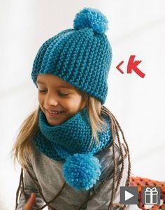 Un ensemble bonnet et snood pour enfant en grosse laine