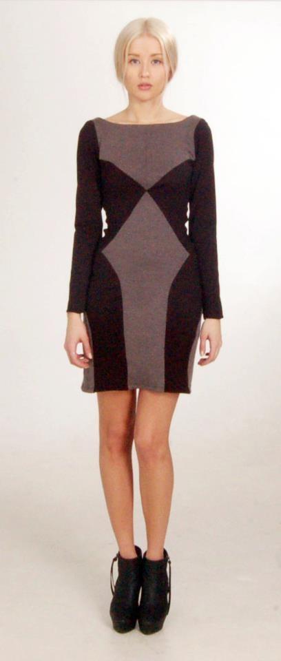 short black/grey dress