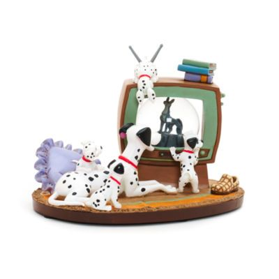Add an element of spots to your mantle piece with this must-have 101 Dalmatians snow globe ornament. With mum and 4 pups watching Thunderbolt on the 'snow globe' TV, it will make a friendly addition to your collection.