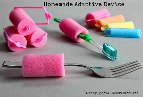 A simple and effective way to adapt handles for kids and adults with fine motor challenges. Use a foam curler! A great way to test different grips and practice skills for independence!