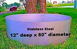 Round Stainless Steel Fire Pit Liner Campfire Ring – 60″ Dia. x 12″ Deep