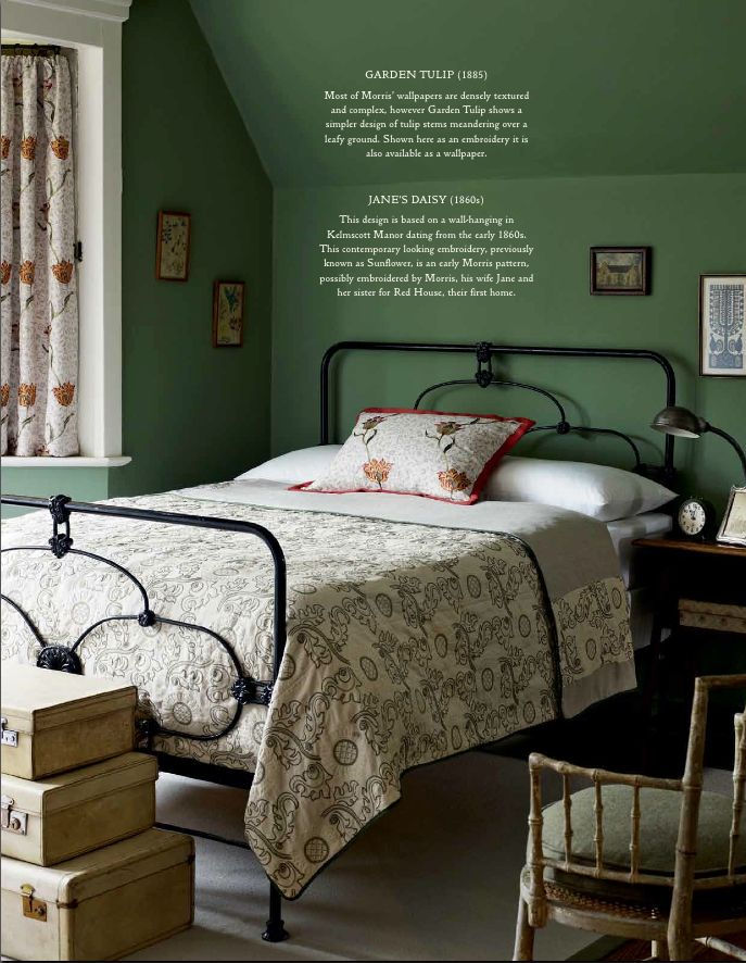Strong wall colour, Morris curtains, patterned bedspread