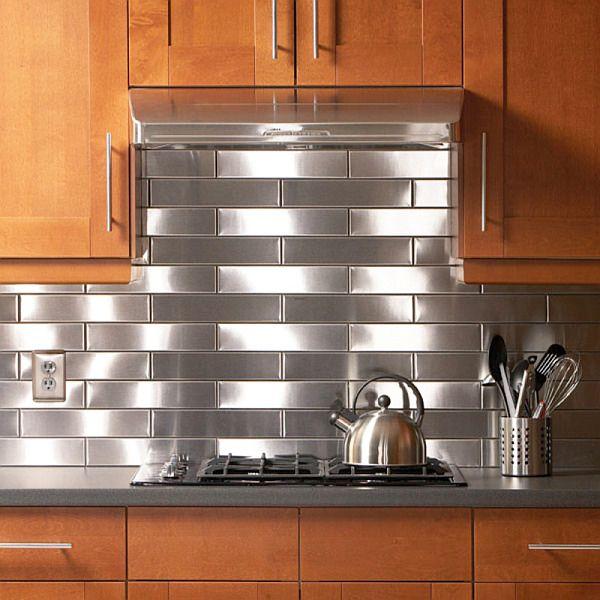 Best 25 stainless steel backsplash tiles ideas on for Stainless steel sheets for kitchens
