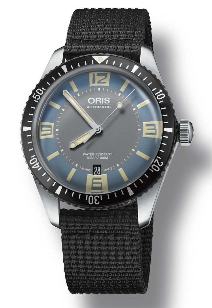 """New Oris Divers Sixty-Five Watch With Grey & 'Deauville Blue' Dial - by James Stacey - on aBlogtoWatch.com """"Remember Oris's surprise launch of the Divers Sixty-Five at Baselworld this past March? In response to positive accolades from press and buyers alike, Oris has seen fit to expand the line with a new Divers Sixty-Five model featuring a beautifully retro-toned grey and blue dial. With a somewhat softer appeal than its black-dialed sibling, this new Oris Divers Sixty-Five..."""""""