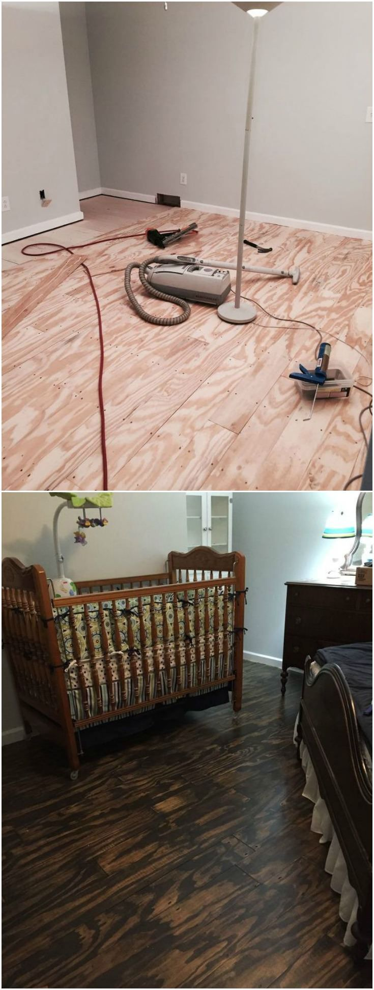 DIY Plywood Plank Floors! It's easier than you may think! We did this in a bedroom. People think they look like high-end expensive floors. I'd say the bedroom, which is pretty good size, cost us about $225 total - including the lumber yard, stain, etc.