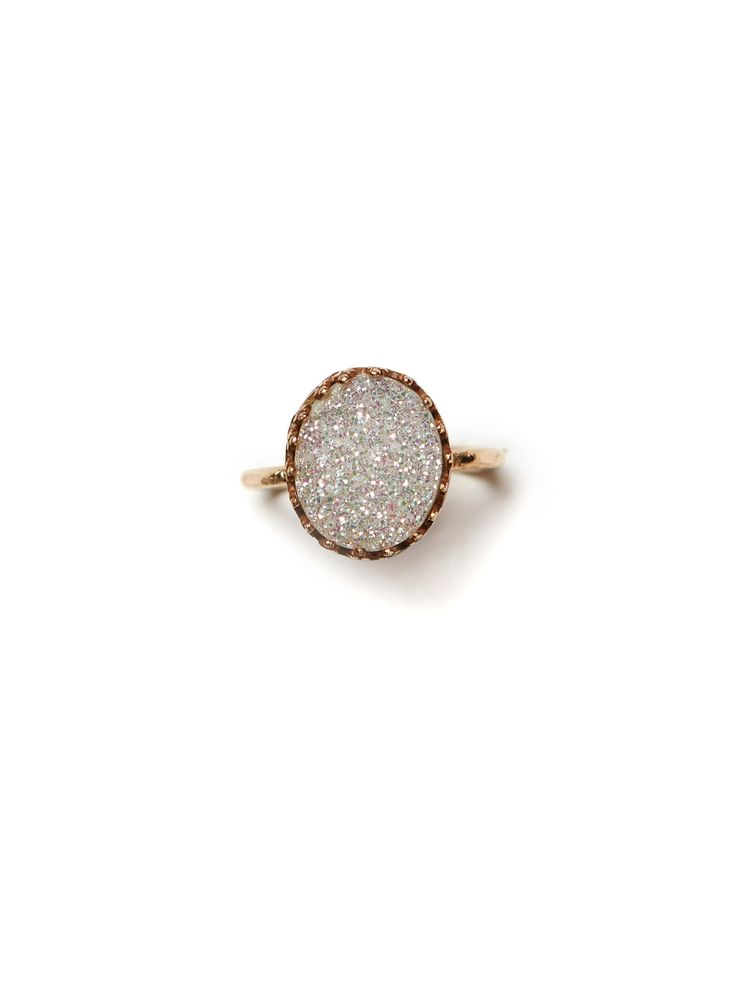 DRUZY RINGS - Features a 12 x 10 mm bezel with either a white or black gorgeous druzy stone set inside. - Ring is a 14K gold-fill hammered 14 gauge ring.