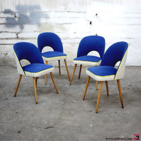 Chaises vintage des années 50/60 bleues indigo - Mille m2