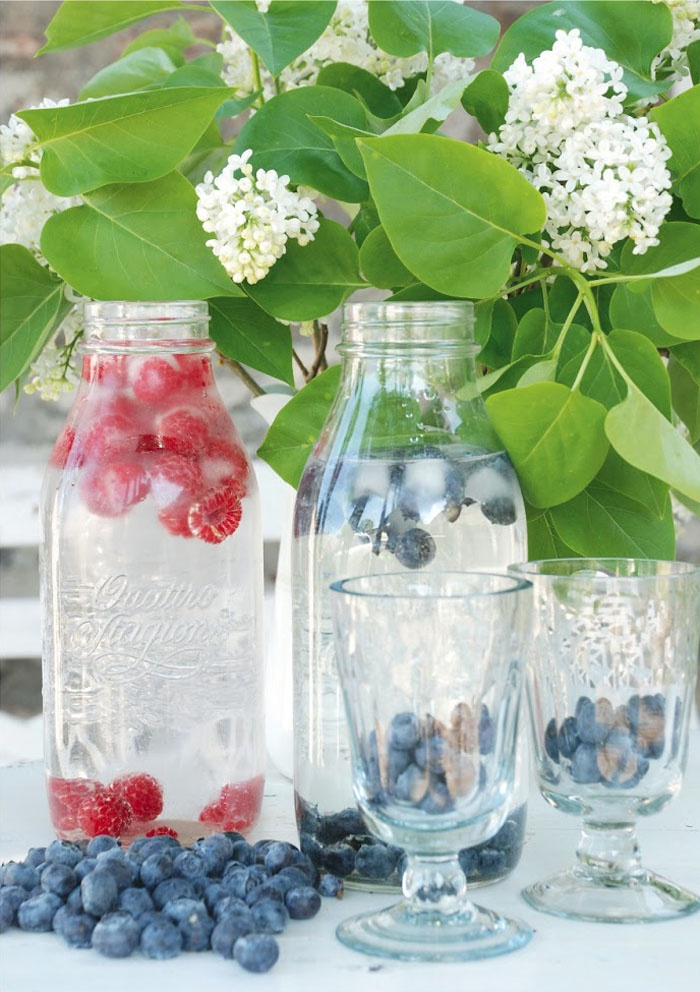 Hot Summer days - Water bottles with frozen berries  fruit