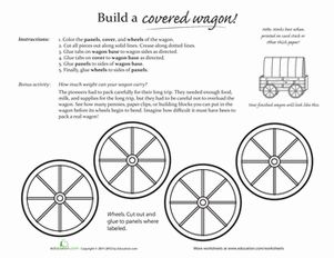 Second Grade Paper Projects History Worksheets: Make a Covered Wagon!