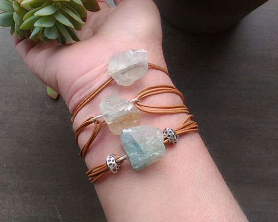 Leather wrap bracelet with sea green raw calcite crystal, rough crystals and stones jewelry, positive energy vibes, leather boho gifts