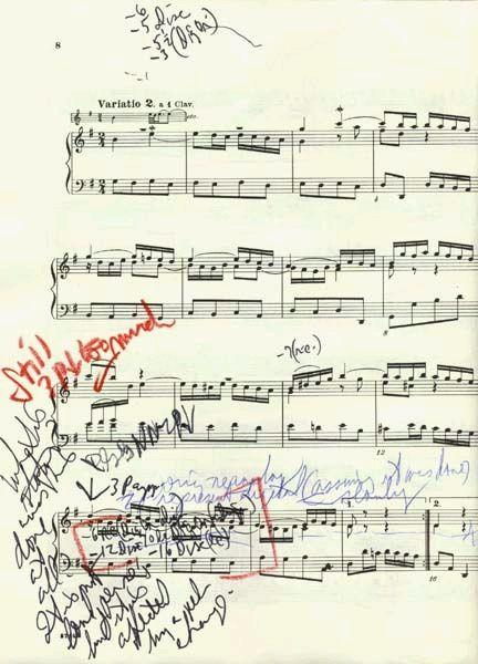 J.S.Bach, Goldberg Variation n.2, score with notes by Glenn Gould