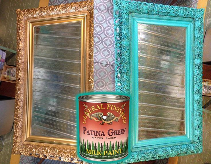 Patina Green Milk Paint upcycles this golden mirror from a past standard. http://bit.ly/1hdh7s0