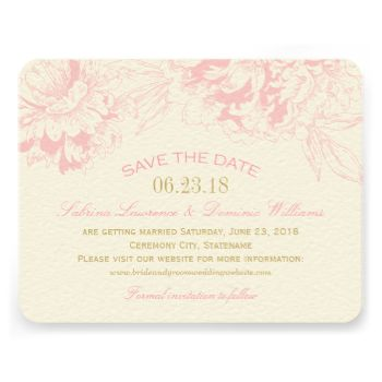 Elegant and romantic peony wedding save the date card design. Pink and champagne gold color scheme. #wedding #theme #peony #peonies #floral #flower #pink #gold #save #the #dates #save #the #date #engagement #elegant #formal #garden #style