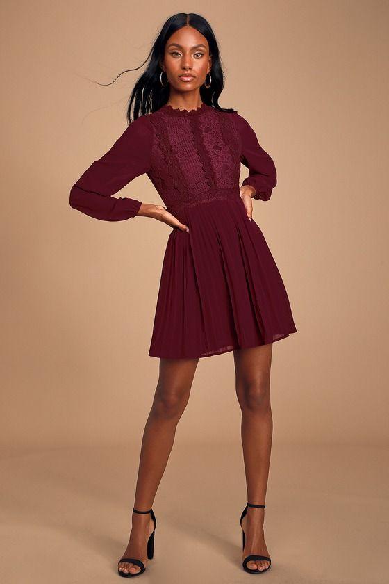 Lulus | Charlisa Burgundy Lace Long Sleeve Skater Dress | Size X-Small | 100% Polyester