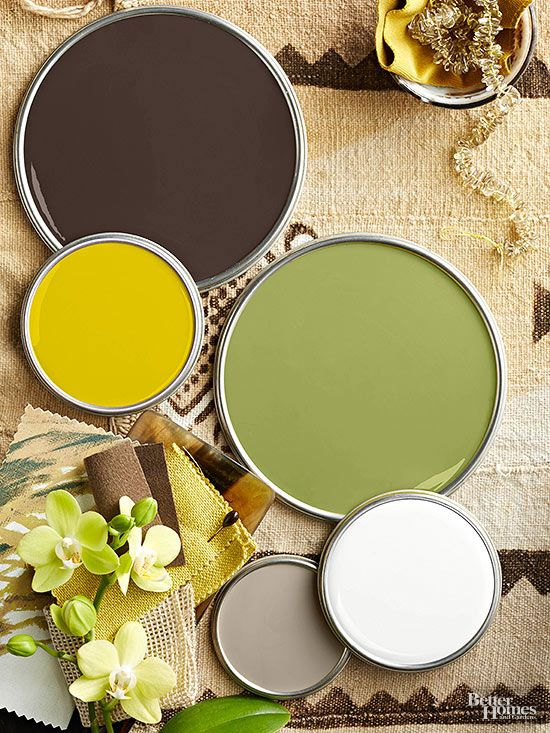 Exotic locales produce distinctive color schemes, including this palette that features coffee-bean brown. Putty gray and creamy white supply cooler counterpoints to the warm brown, while yellow, citron, and leafy green evoke images of sunbeams, tropical blooms, and verdant growth.