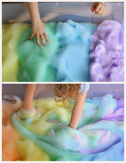 DIY Easy 2 Ingredient Sensory Rainbow Bubbles and Foam Tutorial from Fun at Home with Kids www.wsdear.com