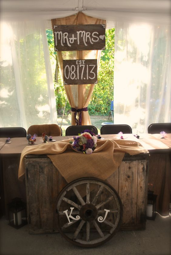 Rustic country wagon wheels wedding decor / http://www.deerpearlflowers.com/rustic-country-wagon-wheel-wedding-ideas/