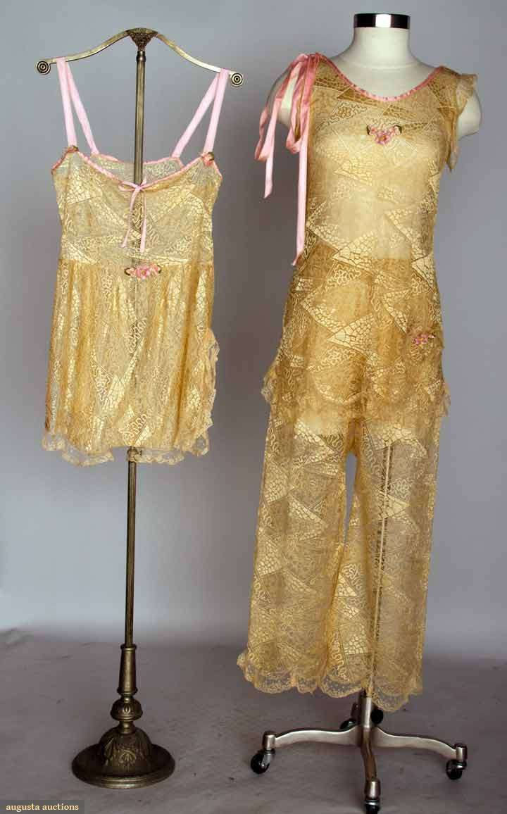 Gold Lace Lingerie Set, C. 1930,  Set c/o pajamas & matching teddy, all w/ ribbon rose trims, silk lace in triangular shapes w/ various patterned centers, Augusta Auctions, November 13, 2013 - NYC