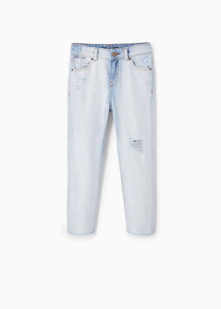 Slim-fit jeans met decoratieve scheuren | MANGO KIDS