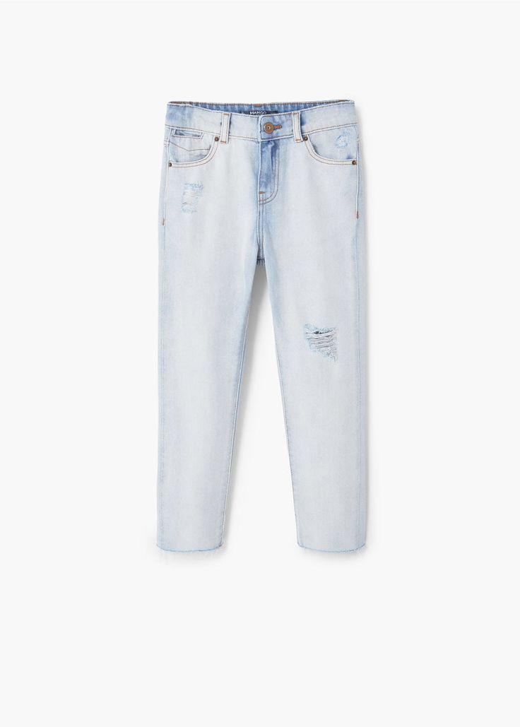 Slim-fit jeans met decoratieve scheuren | MANGO KIDS
