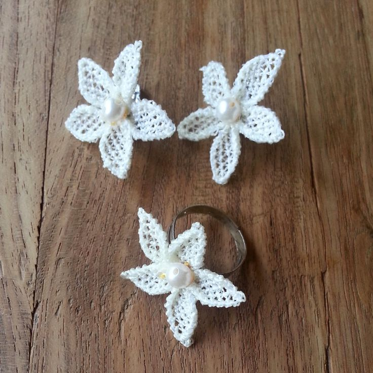 Hand made needle lace earings and ring by crafteller on Etsy