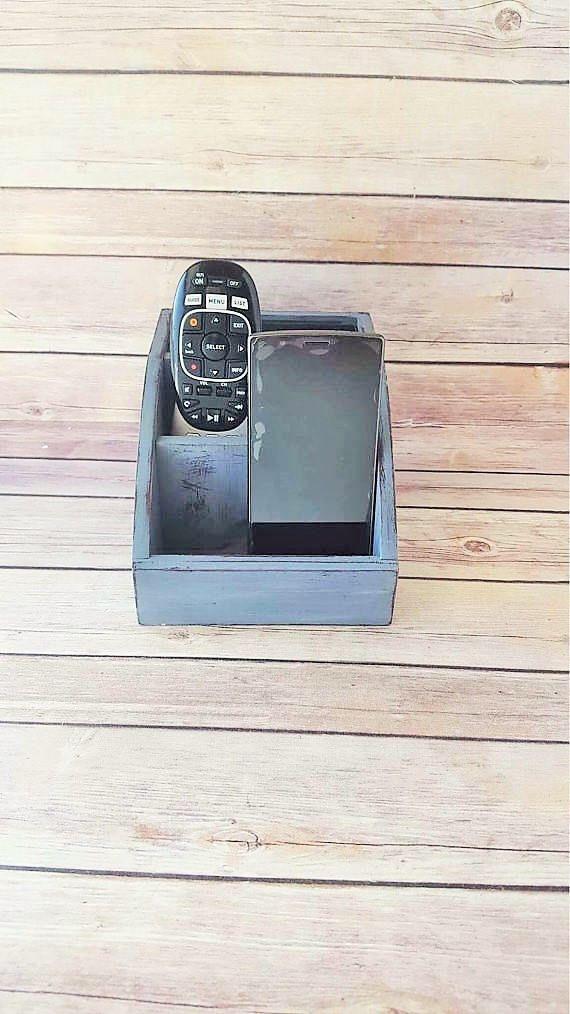Grey Wood Charging Station | Phone Charging Station | Office Organizer Caddy | Remote Control Holder | Grey Home Decor | Home Organization by CraftyMcDaniel on Etsy https://www.etsy.com/listing/560264155/grey-wood-charging-station-phone