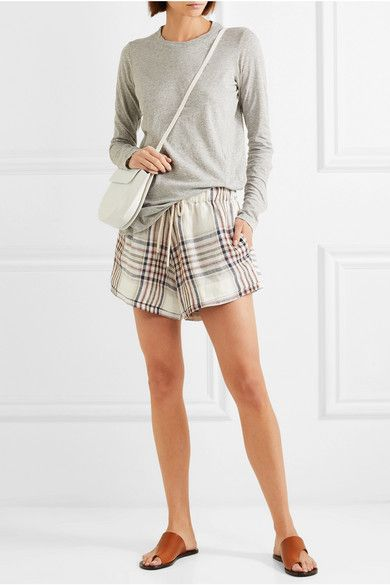 789fd8449 Bassike - Checked Linen-canvas Shorts - White | spring/summer ...