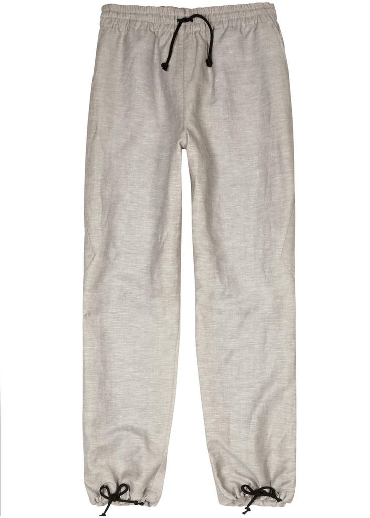 UK exclusive to Harvey Nichols Abasi Rosborough stone slubbed linen trousers Drawstring waist and cuffs, panelled sides, side slant pockets Pull on 100% linen