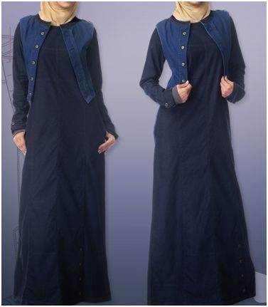 Denim Dark Abaya with stitched jacket
