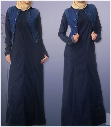 Denim Dark Abaya with stitched jacket