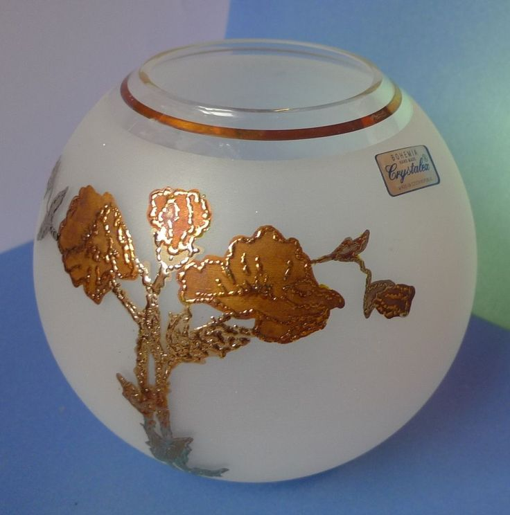 Vintage Decor Glass BOHEMIA Hand made CRYSTALEX Czech Republic VASE frosted gold