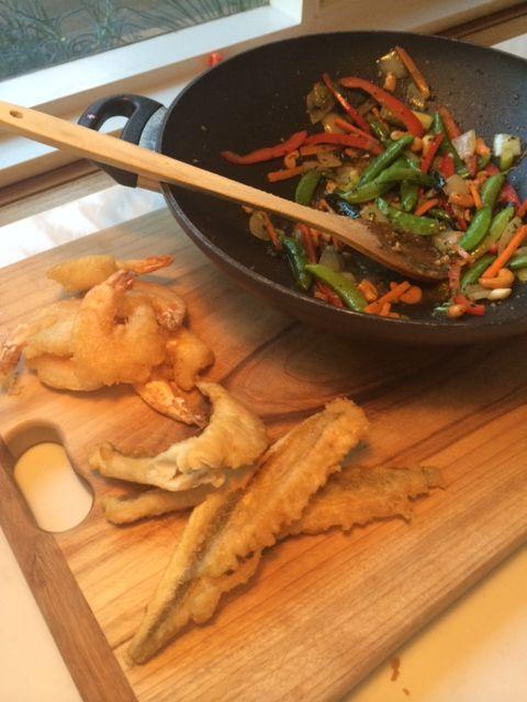 crisp tempura flathead and prawns with stir fried vegetables