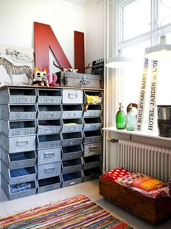 metal storage bins reused in teen bedroom   |   via Kidspacestuff