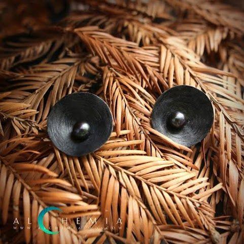 The Clay earrings. Blackened silver, pearl. Handmade by Alchemia Jewellery.