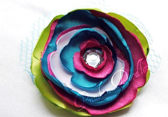 Multicolored satin singed flower with rhinestone by PunkinDoodlez, $7 ...
