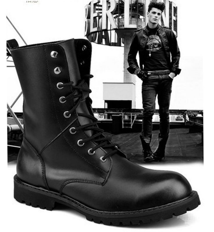 2015 TOP Rock PUNK COOL # MEN'S Fashion Leather Army Boot SHOE MEN ...