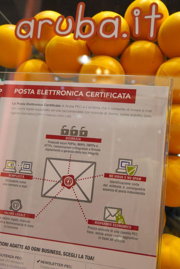 Palline Aruba.it e product sheet della PEC - presentazione dei prodotti allo stand Aruba a Smau Milano 2014.