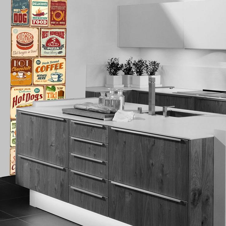 """Ouderwetse Keuken Zelf Maken : een keuken"""" met dit muursticker paneel als blikvanger. Deze ouderwetse"""