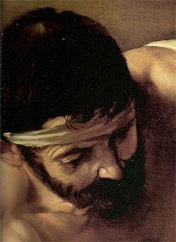 "Caravaggio (1571-1610), ""Incoronazione di spine"", 1603 olio su tela 127x165 cm Vienna, Kunsthistorisches Museum. Partic. testa"